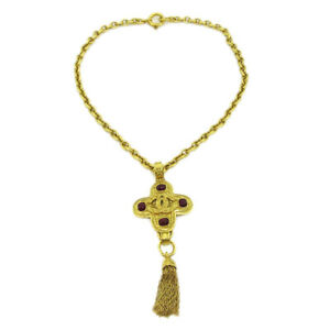 CHANEL CC Logos Fringe Motif Stone Charm Gold Chain Necklace 94A 40021