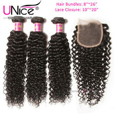 Brazilian Curly Virgin Hair 3 Bundles With Lace Closure UNice Hair Extensions US