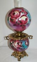 RARE Antique Gone with the Wind Oil Lamp ROSES  (GWTW Banquet Lamp)