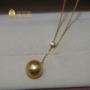 """18"""" Gorgeous AAA+ 11-12mm real natural South sea golden round pearl necklace 18k"""