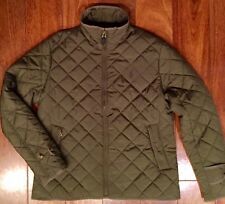 POLO RALPH LAUREN Women's Quilted Barn Riding Jacket Olive Army Green Large
