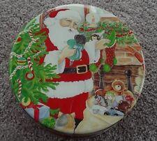 Vintage Xmas tin w/ Santa Tree toys fireplace Plus Signed