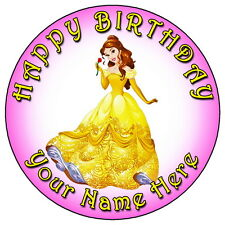 "DISNEY PRINCESS BELLE PARTY - 7.5"" PERSONALISED ROUND EDIBLE ICING CAKE TOPPER"