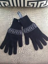 VERSACE MEN'S BLACK WITH GRAY KNITTED  GLOVES WOOL BLEND  ITALY ONE SIZE