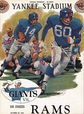New York Giants vs Los Angeles Rams 1961 football program with 10 autographs
