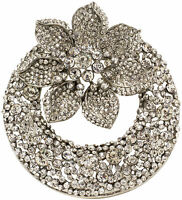 Brosche Kristall Strass Nadel Anstecknadel sehr edel Vintage  brooch Silbe, groß