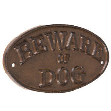 Beware of Dog Metal Wall Decor Rustic Vintage Look Oval NEW