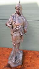 More details for antique victorian large spelter figurine of a medieval knight 65cm (some damage)