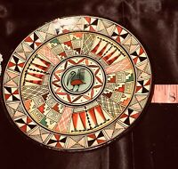 Vtg Peruvian Hand Painted Terracotta Plate Folk Art Indian Latin American Ornate