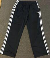 Men's Adidas Track Pants L Blue Workout Striped Warm Up Basketball Vtg Athletic