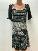 SAVE THE QUEEN size M Black White Grey Dress LAce
