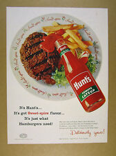 1956 Hunt's Catsup ketchup bottle hamburger fries photo vintage print Ad