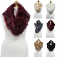 New Women Ladies Celeb Faux Fur Collar Scarf Winter Gorgeous Shawl Wrap Stole UK