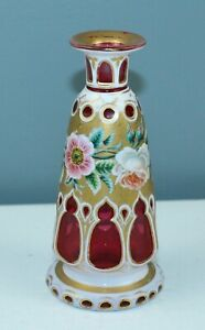 ANTIQUE BOHEMIAN Perfume Or Cologne Bottle DOUBLE OVERLAY Cranberry Glass FLORAL