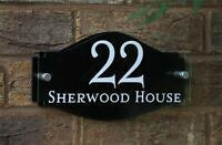 MODERN HOUSE SIGN NAME PLAQUE DOOR NUMBER GLASS EFFECT ACRYLIC Colour Choices!!