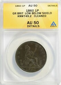 Great Britain 1860 Penny LCW below Shield ANACS AU-50 Details
