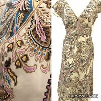 Laura Ashley Beige Pink Blue Paisley Silk Cotton Mix Fit N Flare Midi Dress 12
