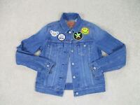 Levis Jean Jacket Girls Small Blue Red Tab Denim Rancher Coat Youth Kids Girls
