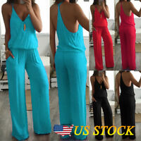 Women Summer Casual Sleeveless Jumpsuit Loose Wide Leg Pants Suit Playsuit Size