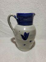 Williamsburg Pottery Small Pitcher Stoneware Grey Blue.