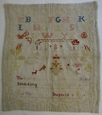 Large Antique Needlework Sampler. 25� x 23� sampler w/alpha +. Early 19th c.