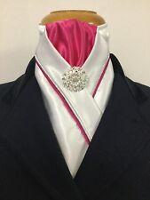 HHD White Satin Dressage Pre-tied Stock Tie Hot Pink & Silver Rhinestone Pin