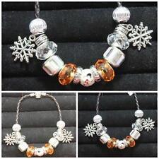 OOK Handmade olaf & Snowflake Charm & Beads 7 1/2 Inch Black Leather Bracelet #8