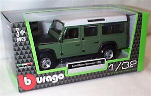 Land Rover Defender 110 Green & black 1:32 Scale Diecast  burago New in Box