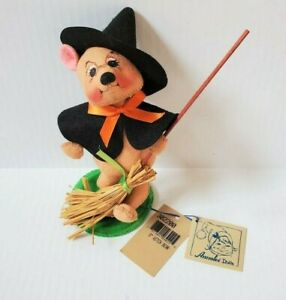 "Annalee Doll 8"" Witch Bear with Broomstick Soft Halloween Figure NEW"