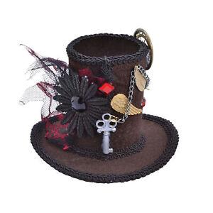 Steampunk Mini Tall Top Hat - Ladies Mad Hatter Halloween Fancy Dress Accessory