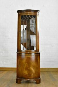 Antique style serpentine bow front corner cupboard / display cabinet