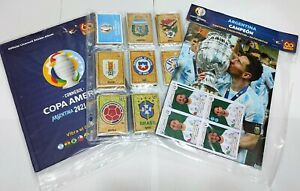 PANINI COPA AMERICA 2021-COMPLETE SET+HARD COVER ALBUM+POSTER ARGENTINA CHAMPION