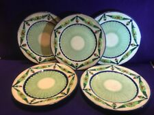 Five Beautiful Vintage Green & Blue Plates Made in Japan W- Age Fractures 1930's
