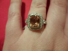 Champagne Quartz Ring w/White Topaz Accents in Platinum Overlay-Size 7-3.11 CTW