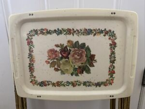 Set Of 4 Vintage/Retro Floral/Flowers TV Tray Tables w Glitter/Confetti Accents