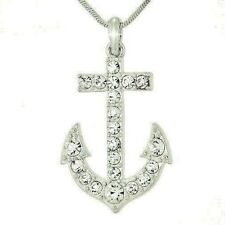 Anchor Made With Swarovski Crystal Marine Boat Ocean Sea Beach Pendant Necklace