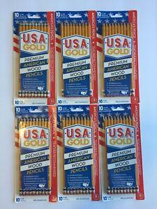 USA Gold Premium American #2 Cedar Pencils 6 X 10 packs = 60 AMERICAS PENCILS