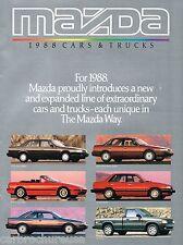 1988 MAZDA Brochure / Pamphlet : RX-7,MX-6,626,323,PickUp Truck,929,RX7