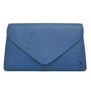 Louis Vuitton Art Deco M52635 Epi Leather Clutch Second Hand Bag Pouch Blue LV