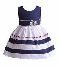 Cinda Bebé Niña Blanco y azul Aro Algodón Vestido Fiesta Niña 18-24 meses