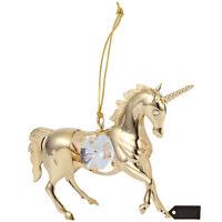 Matashi 24K Gold Plated Crystal Studded Unicorn Ornament Christmas Gift for Mom