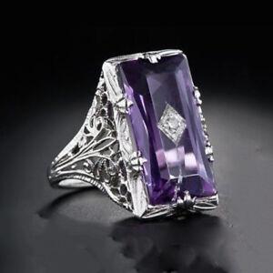 Facted Super Huge Diamond Cut Purple Amethyst Gemstone Silver Ring Size 6-10