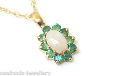 9ct Gold Opal and Emerald cluster Pendant and chain Gift Boxed Necklace