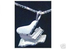 LOOK Sterling Silver Grand Piano Pendant Charm Jewelry Music