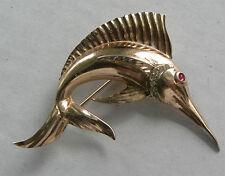 Vintage Sterling Silver Marlin Brooch Rhinestone Rose Gold Plated Swordfish 92.5