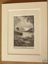 DERWENTWATER ANTIQUE MOUNTED ENGRAVING c1890 10X8 RARE