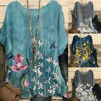 Womens Vintage Cotton-Blend O-Neck Short Sleeve Floral Print Top T-shirts Blouse