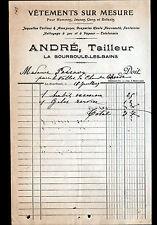 """LA BOURBOULE (63) VETEMENTS sur mesure / TAILLEUR """"ANDRE"""" en 1909"""