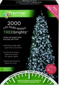 Premier 2000 LED Multi-Action TreeBrights Christmas Tree Lights Timer - WHITE