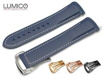 20mm 22mm For OMEGA Watch BLUE WHITE Rubber Strap Band Clasp SeaMaster Planet Oc